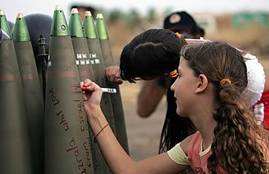Israeli children leaving messages on missiles aimed for Lebanon