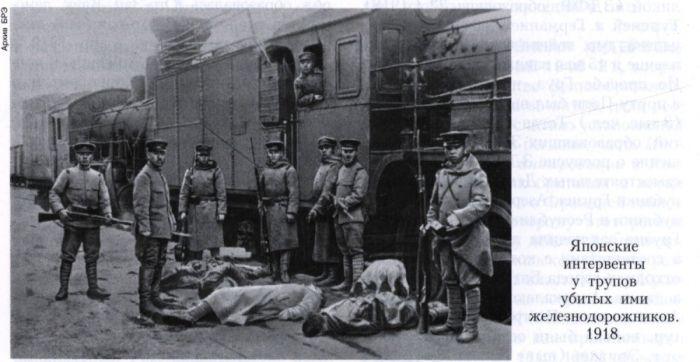 японские интервенты у трупов убитых ими железнодорожников