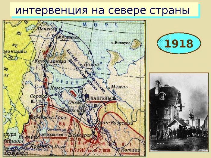 интервенция на севере страны. 1918 год