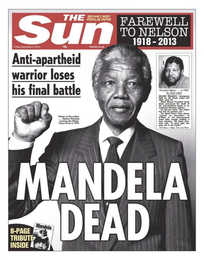 The Sun. Nelson Mandela Death